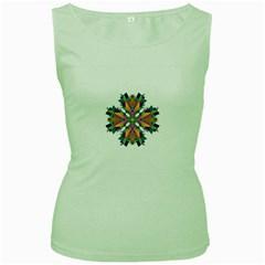 Modern Art Womens  Tank Top (Green)