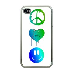 Peace Love and Happiness Apple iPhone 4 Case (Clear)
