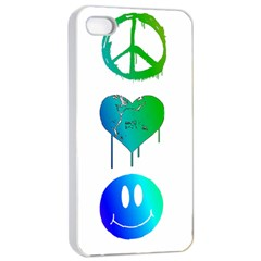 Peace Love and Happiness Apple iPhone 4/4s Seamless Case (White)