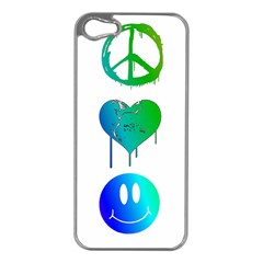 Peace Love And Happiness Apple Iphone 5 Case (silver)