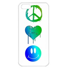 Peace Love and Happiness Apple iPhone 5 Seamless Case (White)