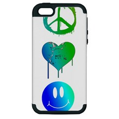 Peace Love and Happiness Apple iPhone 5 Hardshell Case (PC+Silicone)