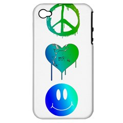 Peace Love And Happiness Apple Iphone 4/4s Hardshell Case (pc+silicone)