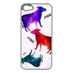 CowCow...cow. Apple iPhone 5 Case (Silver)