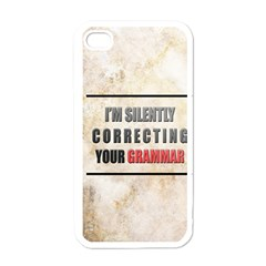 Silently correcting your grammar Apple iPhone 4 Case (White)