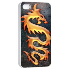 Golden Tribal Dragon Apple Iphone 4/4s Seamless Case (white)