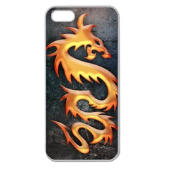 Golden Tribal Dragon Apple Seamless iPhone 5 Case (Clear)
