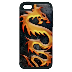 Golden Tribal Dragon Apple iPhone 5 Hardshell Case (PC+Silicone)