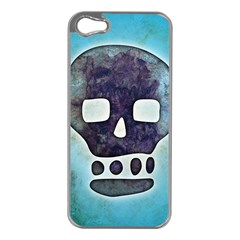 Textured Skull Apple iPhone 5 Case (Silver)
