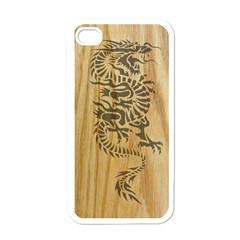 Tribal Dragon On Wood Apple Iphone 4 Case (white)