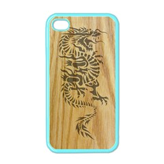 Tribal Dragon on Wood Apple iPhone 4 Case (Color)