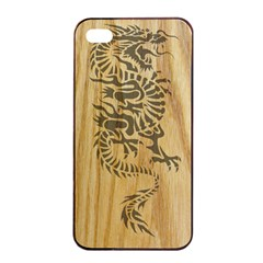 Tribal Dragon on Wood Apple iPhone 4/4s Seamless Case (Black)