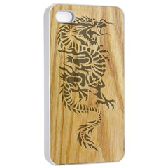 Tribal Dragon on Wood Apple iPhone 4/4s Seamless Case (White)