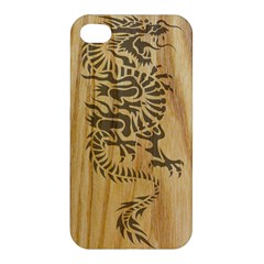 Tribal Dragon On Wood Apple Iphone 4/4s Premium Hardshell Case