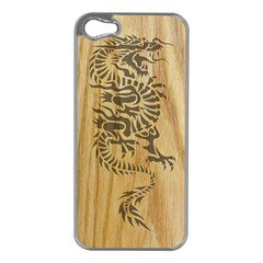 Tribal Dragon On Wood Apple Iphone 5 Case (silver)
