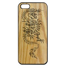 Tribal Dragon on Wood Apple iPhone 5 Seamless Case (Black)