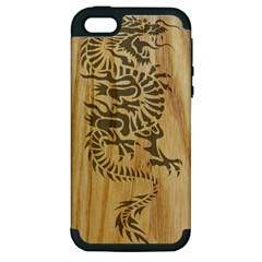 Tribal Dragon on Wood Apple iPhone 5 Hardshell Case (PC+Silicone)