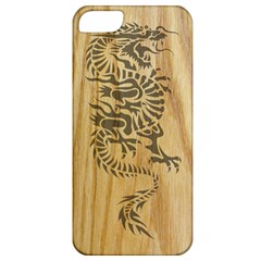 Tribal Dragon on Wood Apple iPhone 5 Classic Hardshell Case