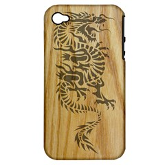 Tribal Dragon on Wood Apple iPhone 4/4S Hardshell Case (PC+Silicone)