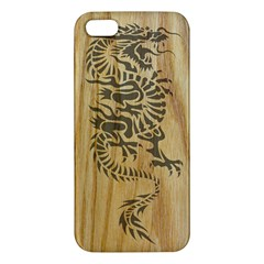 Tribal Dragon on Wood iPhone 5 Premium Hardshell Case