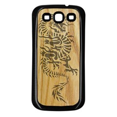 Tribal Dragon on Wood Samsung Galaxy S3 Back Case (Black)