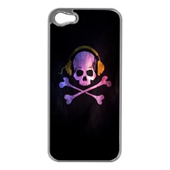 Rock out with your Skull out... Apple iPhone 5 Case (Silver)