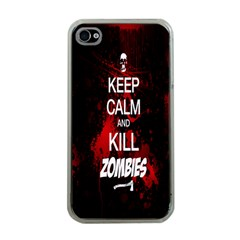 Keep Calm & Kill Zombies Apple iPhone 4 Case (Clear)