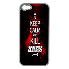 Keep Calm & Kill Zombies Apple iPhone 5 Case (Silver)