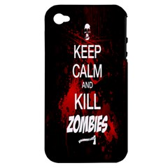 Keep Calm & Kill Zombies Apple iPhone 4/4S Hardshell Case (PC+Silicone)