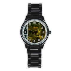 Escala Seattle Yellow Green Collage Sport Metal Watch (Black)
