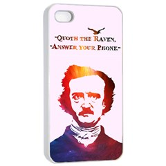Qouth the Raven...Answer Your Phone (In Color). Apple iPhone 4/4s Seamless Case (White)