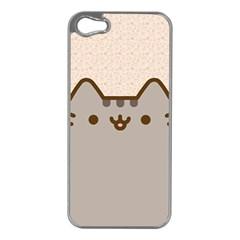 Cute Cat Apple iPhone 5 Case (Silver)