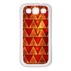Orange Triangle Tiles Samsung Galaxy S3 Back Case (White)