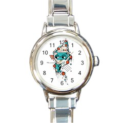 Muscle cat Round Italian Charm Watch