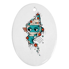 Muscle cat Oval Ornament