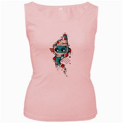 Muscle cat Womens  Tank Top (Pink)