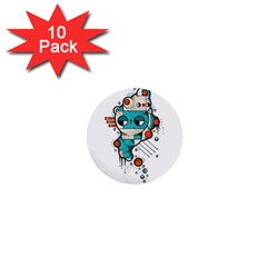 Muscle cat 1  Mini Button (10 pack)
