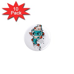 Muscle cat 1  Mini Button Magnet (10 pack)