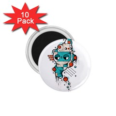 Muscle Cat 1 75  Button Magnet (10 Pack)