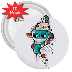 Muscle Cat 3  Button (10 Pack)
