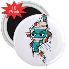 Muscle cat 3  Button Magnet (10 pack)