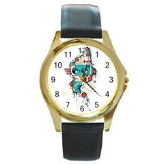 Muscle cat Round Metal Watch (Gold Rim)