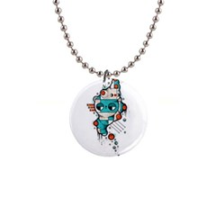 Muscle Cat Button Necklace