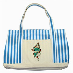 Muscle cat Blue Striped Tote Bag