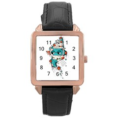 Muscle cat Rose Gold Leather Watch