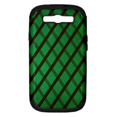 Green Stripes Samsung Galaxy S III Hardshell Case (PC+Silicone)
