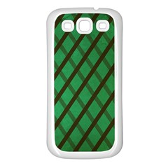 Green Stripes Samsung Galaxy S3 Back Case (White)