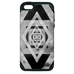 Geometric B&w Apple Iphone 5 Hardshell Case (pc+silicone)