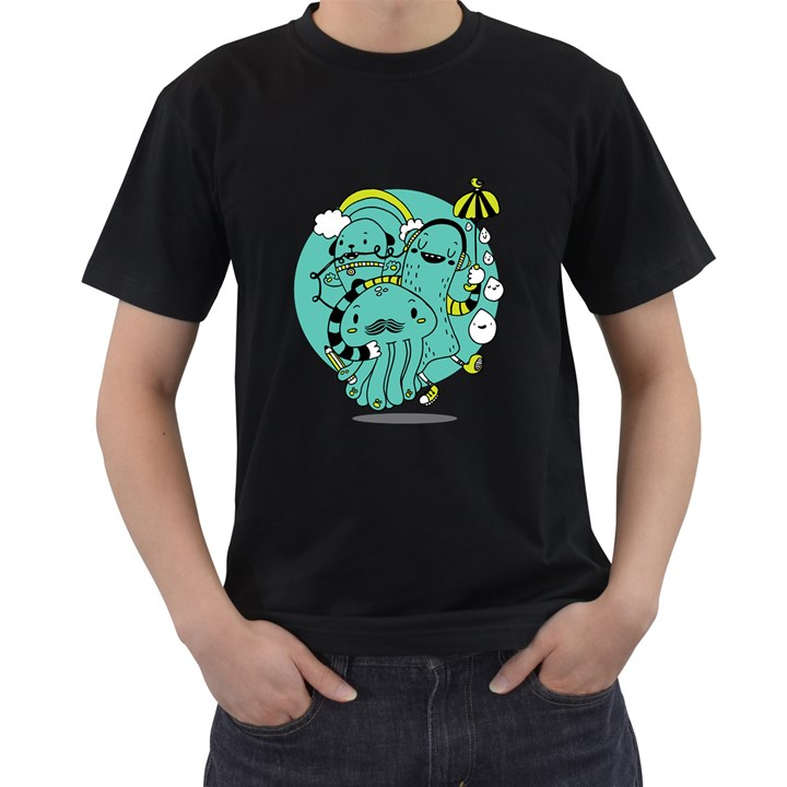 Monsters Mens' Two Sided T-shirt (Black)