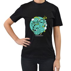 Monsters Womens' Two Sided T Shirt (black)